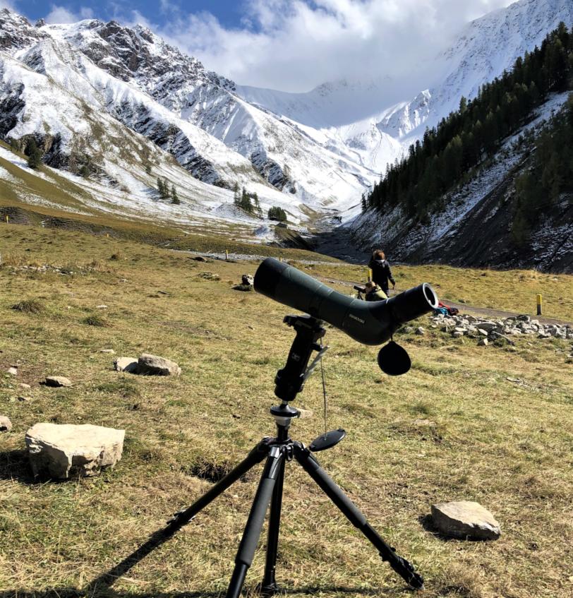Spektiv für Wildtierbeobachtung im Val Trupchun